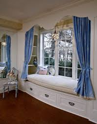 Decorations:Traditional Nice Window Seating Design With Long Blue Curtain  Idea New Ideas For Window