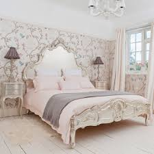 beautiful french country bedroom furniture sets with fl pattern walpaper also cone black table lamp shade plus pink bedding sets over white chandelier