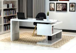 Creative Office Desks Modern Office Desk In White Lacquer