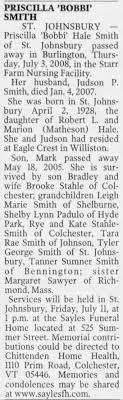 Obituary for Priscilla Hale SMITH, 1928-2008 - Newspapers.com