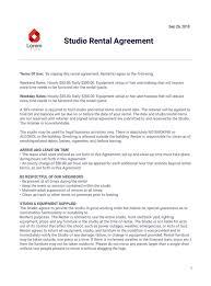 Lease Agreement Format Studio Rental Agreement Template Pdf Templates Jotform