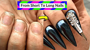 Apply Acrylic Nails On Short Bitten Nails - Best Black Nail Art ...