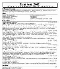 Speech Therapy Resume Classy Speech Language Pathology Resume Examples Sample Resume For Speech