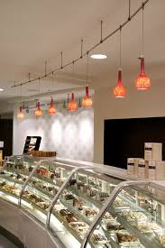 picturesque tulip glass track lights over modern storage for food in modern restaurant feat drop ceiling lamps inspiring ideas