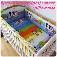 6pcs baby bed linen bedding crib for baby crib bedding ainmal design baby bedding baby mickey crib set design