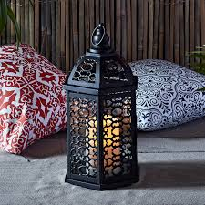 moroccan black metal battery operated outdoor led flameless candle lantern 0