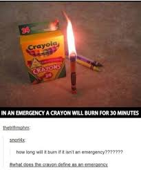 this flammable phenomenon is not restricted to crayola brand crayons it should also be noted the existence of an emergency does not affect the burning time
