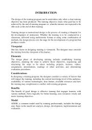 Designing A Training Program Example Training Design