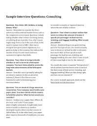 Sample Resume Questions Sample Consulting Interview Questions Interview QuestionsVault 83