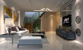 Living Room Lights Villa Living Room Lighting Rendering With Stairs Pinterest