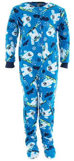 plus size footed pajamas komar kids little boys blue yeti footed pajamas xs 4 5 walmart com