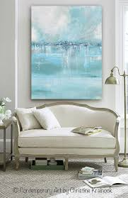 seaglass giclee print canvas print of original art blue white sea foam green grey abstract painting contemporary abstract modern seascape light aqua  on large grey canvas wall art with giclee print large art abstract painting blue white grey wall art