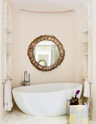 Pale Pink Coastal Paint Colors For Bathroom With White Bathtub And ...