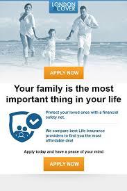 london cover life insurance newsletter design
