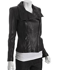 michael michael kors black asymmetrical zip leather moto jacket
