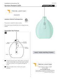 Tech Lighting Quinton Pendant Quinton Pendant Led Installation Instructions For