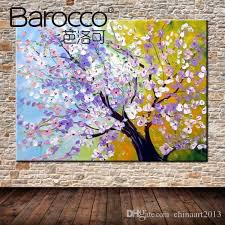 2019 hand painted palette knife oil painting on canvas nice flowers tree scenery painting modern wall art decoration home living room from chinaart2016