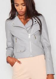 sydney grey faux leather biker jacket
