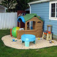 My husband and I recently created an area in our backyard specifically for  our son's outdoor play house, water table, and tool bench.