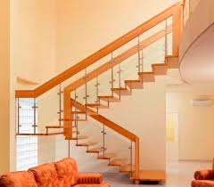 ... fun modern stairs with glass balustrade also beige wall paint color ...