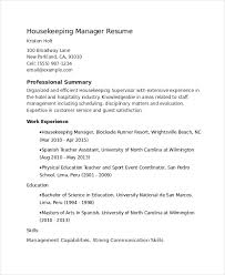 Housekeeping Supervisor Resume