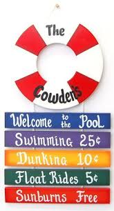 Swimming Pool Decor Signs Home Pool Personalized Welcome Sign Custom Backyard Sign 91