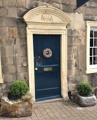 front door painted with farrow and ball hague blue farrow and ball via atticmag