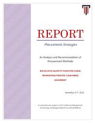 business report cover page template a report on procurement strategies pp1