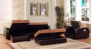 chocolate microfiber pvc sectional sofa set with storage c2003