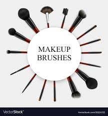 makeup brushes realistic set frame vector image