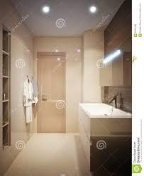 Moderner Badezimmerinnenraum Mit Den Braunen Und Beige Fliesen Stock