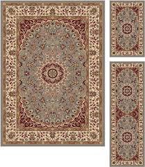 tayse rugs elegance blue area rug 3 piece set