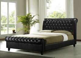 time living richmond dark brown 4ft 6 double pu leather bed frame