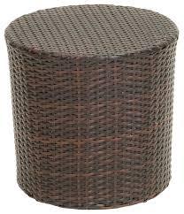 overton outdoor wicker barrel side table brown