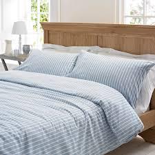 salcombe stripe brushed cotton duvet set