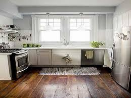 Industrial Kitchen Flooring Kitchen Brown Wooden Flooring Stainless Top Mount Sinks Brown