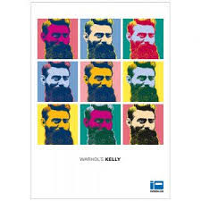 ned kelly scum or hero ned kelly n iron outlaw   andy warhol inspired pop art ned kelly original tribute warhol s kelly full colour poster