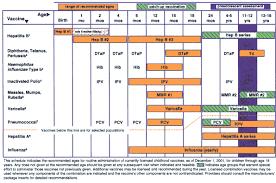 Age Chart For Shots The 2002 Recommended Childhood Immunization Schedule And
