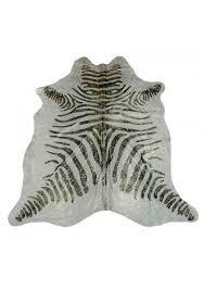 carpet cowhide size 215x170 cms stamped imitation zebra metallic 100 natural leather