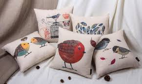 Printed small birds sofa cushion or cushion covers