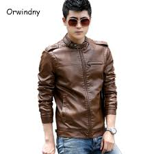 men s clothing 2017 new fashion mens leather jackets and coats slim leather motorcycle jacket men brown
