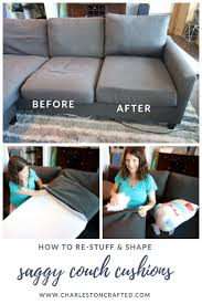 how to stuff sofa cushions restuff a saggy couch before and after diy tutorial