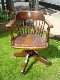 sale antique oak leather swivel office chair by thevintagebarn antique wood office chair