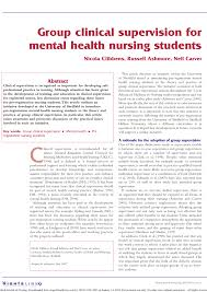 Psychiatric Nursing Charting Terms Pdf Group Clinical Supervision For Mental Health Nursing