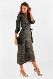 Sylvie Three Quarter Sleeve Wrap Dress In Green Leopard Print