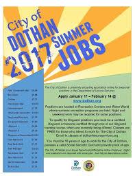 Summer Jobs Need A Summer Job The City Of Dothan Is Hiring