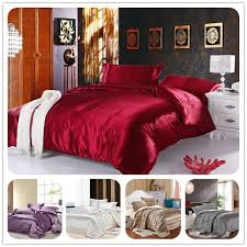twin full queen king silk bedding quilt duvet cover sets wine red gold silver satin silk