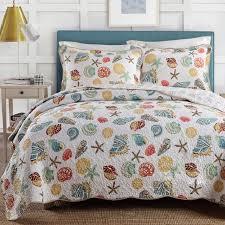 CHAUSUB Ocean style Quality Quilt Set 3PC Cotton Quilts Quilted ... & CHAUSUB Ocean style Quality Quilt Set 3PC Cotton Quilts Quilted Bedspread  Cover Bed Sheets Pillowcase Blanket Adamdwight.com