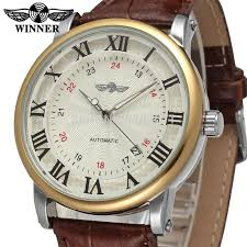 popular companies watch buy cheap companies watch lots from winner men s watch hot selling automatic factory company brown leather strap shipping gift box