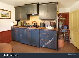 Colonial Kitchen Kitchen Primitive Colonial Style Reproduction Home Stock Photo